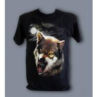 Тениска с вълк при пълнолуние