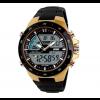Спортен мъжки часовник със златист корпус и черна верижка